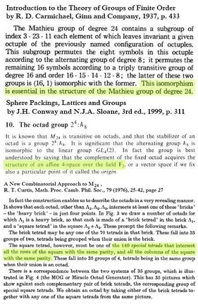 Carmichael-1937 and Curtis-1976 on the MOG and the Galois Tesseract