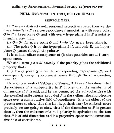 Baer, Null Systems in Projective Space